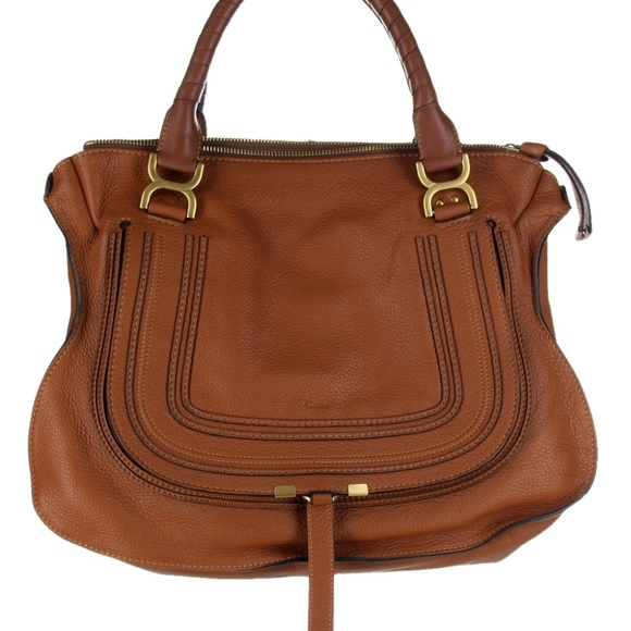 b8db66b40433 Chloe Handbags - CHLOE Marcie Large Leather Satchel Tan Handbag